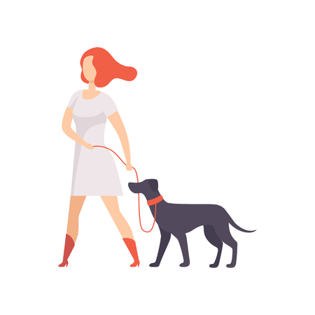 Young woman keeping her purebred dog on the leash at show exhibition vector Illustration on a white background