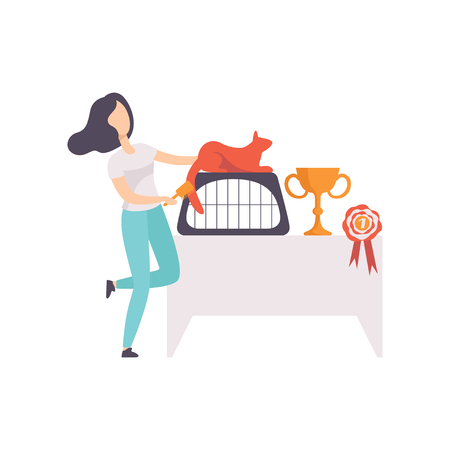 Young woman presenting her purebred champion cat, pet winning the prize on pet show vector Illustration on a white background Illustration