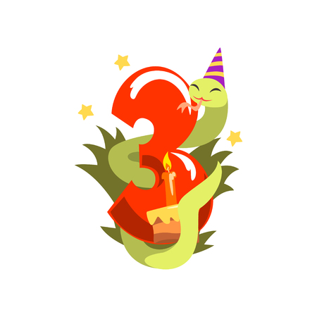 Funny snake in party hat and number three, Happy birthday, anniversary number with cute animal character vector Illustration on a white background