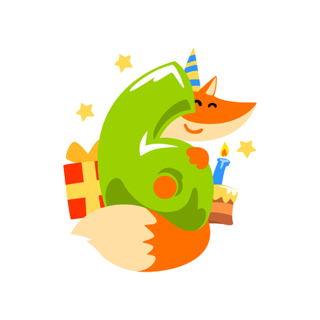 Sweet red fox in party hat and number six, Happy birthday, anniversary number with cute animal character vector Illustration on a white background