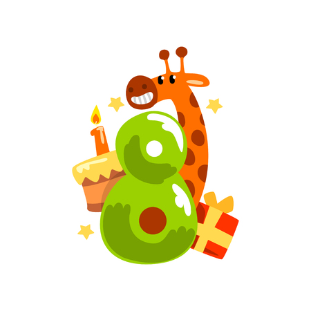 Sweet funny giraffe and number eight, Happy birthday, anniversary number with cute animal character vector Illustration on a white background 向量圖像