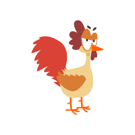 Funny angry hen, comic cartoon chicken bird character with big eyes vector Illustration on a white background Illustration