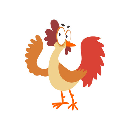 Funny hen, comic cartoon chicken bird character with big eyes vector Illustration on a white background Illustration