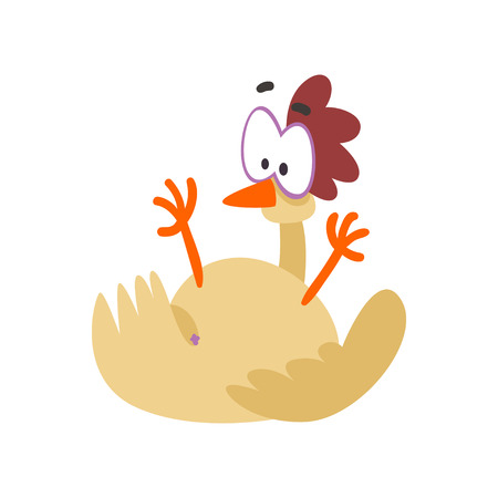 Funny hen fell on its back, comic cartoon chicken bird character with big eyes vector Illustration on a white background