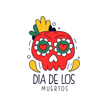 Dia De Los Muertos, traditional Mexican Day of the Dead design element, holiday party decoration banner, greeting card hand drawn vector Illustration