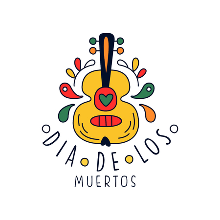 Dia De Los Muertos, traditional Mexican Day of the Dead design element with guitar, holiday party banner, poster, greeting card or invitation hand drawn vector Illustration