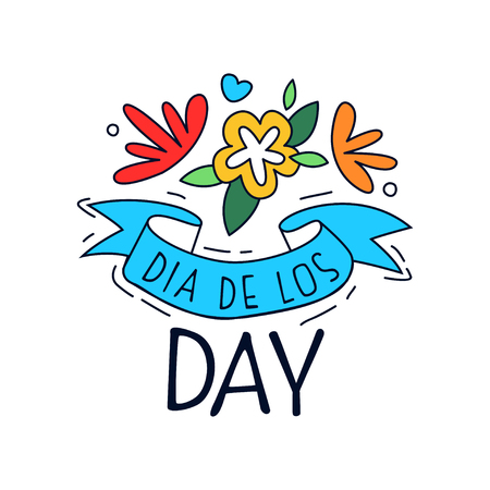 Dia De Los Day, Mexican Day of the Dead design element, holiday party decoration banner, greeting card hand drawn vector Illustration