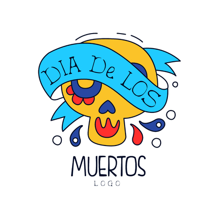 Dia De Los Muertos, traditional Mexican Day of the Dead design element with sugar skull, holiday party decoration banner, greeting card hand drawn vector Illustration Archivio Fotografico - 103942500