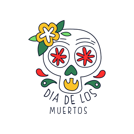 Dia De Los Muertos, traditional Mexican Day of the Dead design element, holiday party decoration banner, poster, greeting card or invitation hand drawn vector Illustration