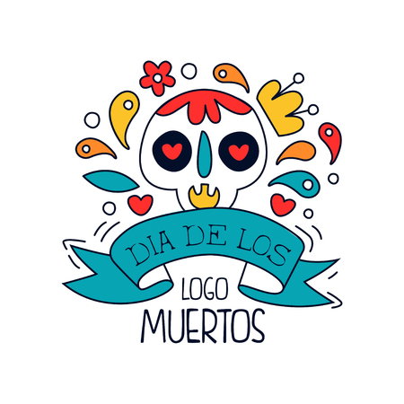 Dia De Los Muertos, traditional Mexican Day of the Dead design element with sugar festive skull, holiday party banner, poster, greeting card or invitation hand drawn vector Illustration