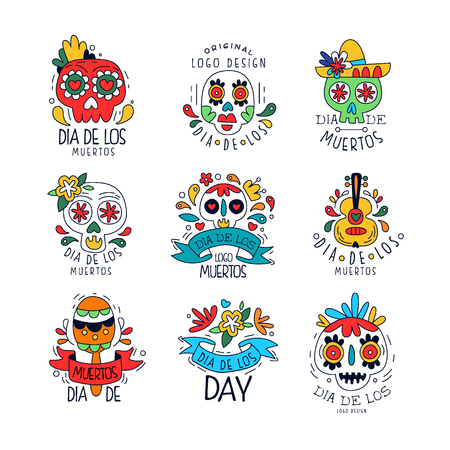 Dia De Los Muertos set, Mexican Day of the Dead holiday design elements can be used for party banner, poster, greeting card or invitation hand drawn vector Illustrations Иллюстрация