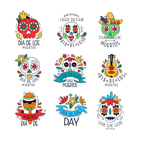 Set di Dia De Los Muertos, elementi di design di festa messicana giorno dei morti può essere utilizzato per banner, poster, cartolina d'auguri o invito vettoriale disegnato a mano del partito illustrazioni Vettoriali