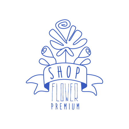 Flower shop premium design, floral emblem, florists, flower boutique badge hand drawn vector Illustration in blue color on a white background Illustration