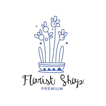 Florist shop premium, design element for floral boutique hand drawn vector Illustration in blue color on a white background