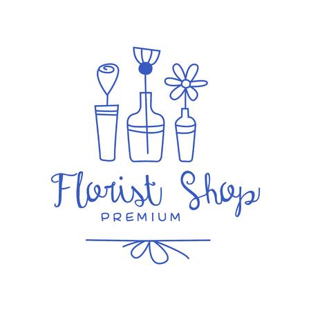 Florist shop premium, badge for floral boutique hand drawn vector Illustration in blue color on a white background Stock Illustratie