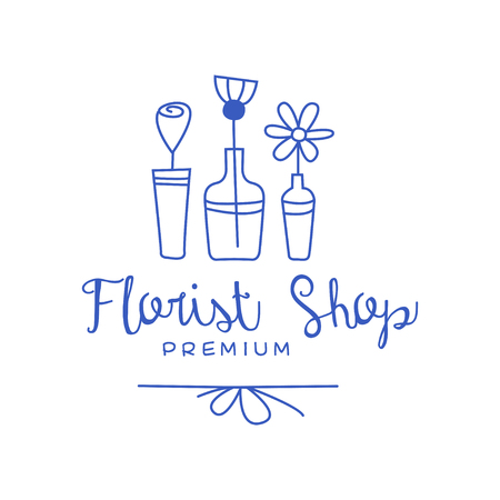 Florist shop premium, badge for floral boutique hand drawn vector Illustration in blue color on a white background Ilustra��o