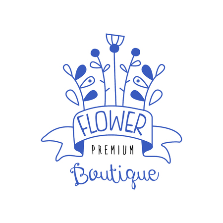 Flower boutique premium, lorists, flower shop badge hand drawn vector Illustration in blue color on a white background