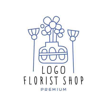 Florist shop premium, flower boutique design hand drawn vector Illustration in blue color on a white background