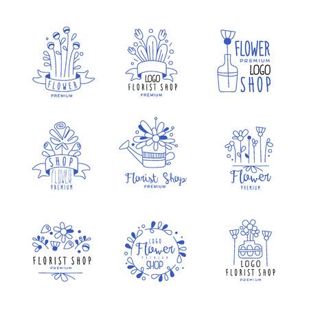 Flower shop premium set, floral boutique, florists badges hand drawn vector Illustrations in blue colors on a white background Illustration