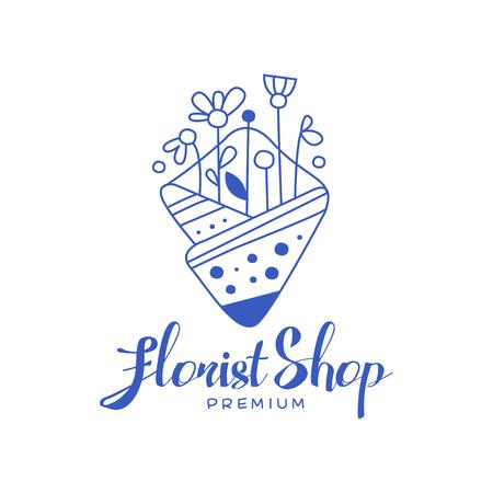 Florist shop premium, design element for floral boutique or florists hand drawn vector Illustration in blue color on a white background