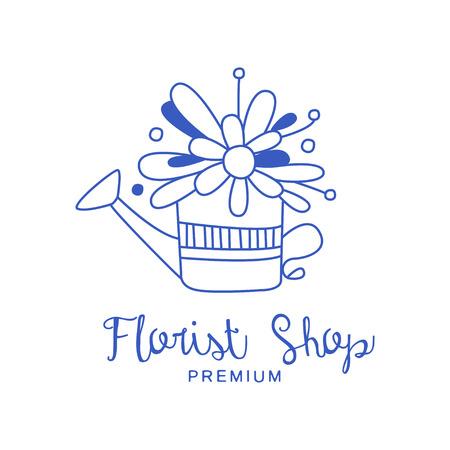 Florist shop premium, badge for flower boutique hand drawn vector Illustration in blue color on a white background