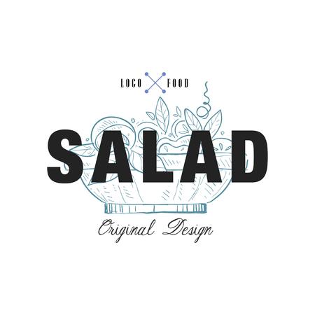 Salad food original design, retro emblem for food shop, cafe, restaurant, cooking business, brand identity vector Illustration on a white background