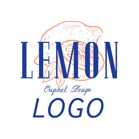 Lemon original design, retro emblem for shop, cafe, restaurant, cooking business, brand identity vector Illustration on a white background