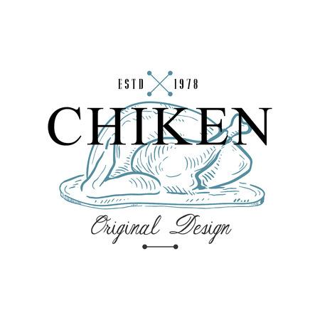 Chiken original design estd 1978, retro emblem for food shop, cafe, restaurant, cooking business, brand identity vector Illustration on a white background Illustration