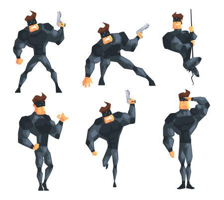 Secret agent in different actions. Posing with gun, hanging on rope, running and saluting. Muscular man in costume and mask. Flat vector set