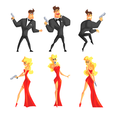Secret agents in different poses. Handsome man and beautiful woman with gun in hands. Male in black suit, female in sexy red dress. Flat vector set Illustration