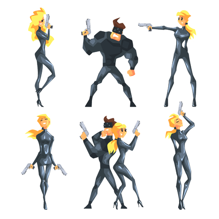 Flat vector set with secret agents in different poses with guns in hands. Sexy blond girl and handsome muscular man in costumes