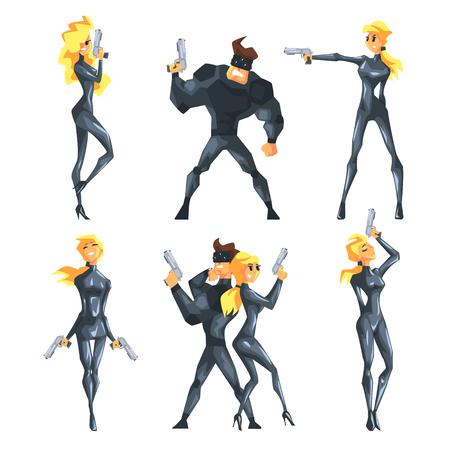 Vector plano con agentes secretos en diferentes poses con armas en las manos. Sexy chica rubia y guapo musculoso en trajes