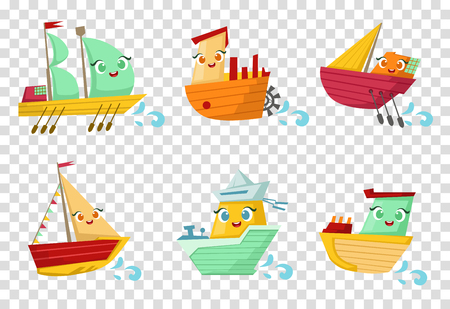 Set of colorful wooden ships with cute faces. Small sailing boats. Marine theme. Flat vector for children room decor or mobile game Çizim