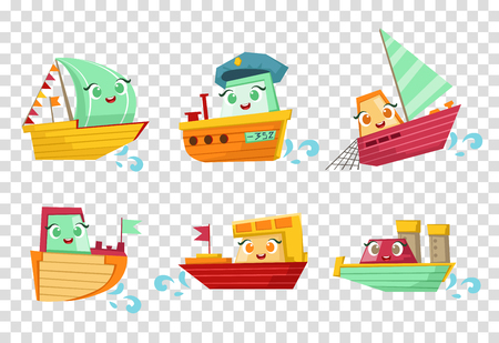 Flat vector set of marine vessels with adorable faces. Small wooden ships and sailing boats. Elements for children book or mobile game