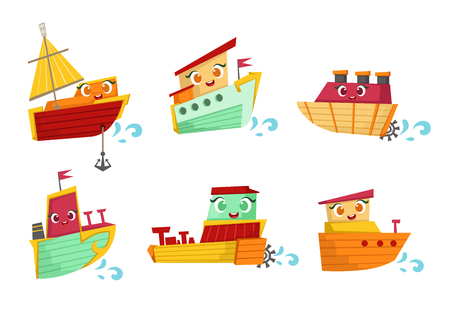 Flat vector set of small wooden boats with cute faces. Sea transport. Elements for children book, poster or mobile game Çizim