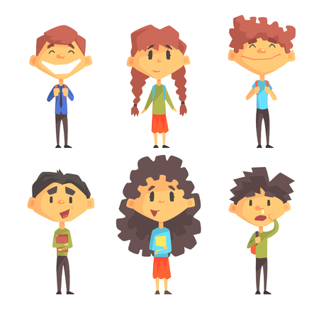 Funny disciples of elementary school. Cute boys and girls with backpacks on shoulders and books in hands. Flat vector set