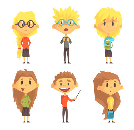 Flat vector set of funny school children. Kids with books in hands and backpacks on shoulders. Cute boys and girls in casual clothes