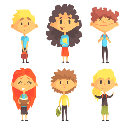 Flat vector set of disciples with books and backpacks. Pupils of elementary school. Education theme Illustration