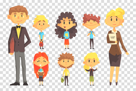 Funny disciples of elementary school and their teachers. Boys and girls with books and backpacks. Flat vector set Illusztráció