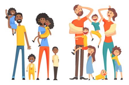 Jonge Afro-Amerikaanse en blanke familie. Vrolijke en vermoeide ouders met kinderen. Grappige kleine kinderen en pasgeborenen. Platte vector ontwerp