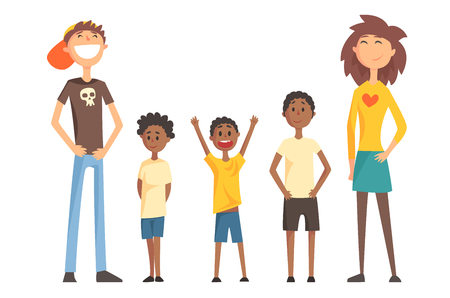 Caucasian couple and three Afro-American teenager boys. Happy interracial family. Young parents with children. Flat vector design Illustration