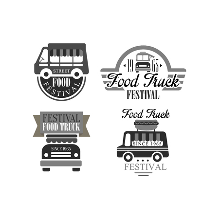 Set of original templates for food truck festival. Monochrome vector emblems with van and lettering Illustration