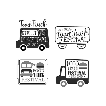 Vector set of monochrome food truck festival emblems. Creative with van, burgers and lettering. Cafe on wheels. Street fast food