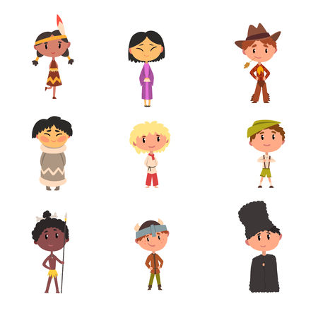 Kids in national clothes, boys and girls cartoon characters in traditional costume of American Indian, Japanese, American Cowboy, Eskimo, Russian, Australian Aboriginal, German vector Illustration 일러스트
