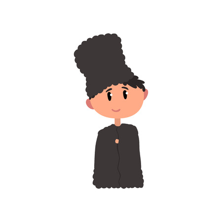 Boy in national clothes of North Caucasus, kid cartoon character in traditional costume vector Illustration on a white background Illustration