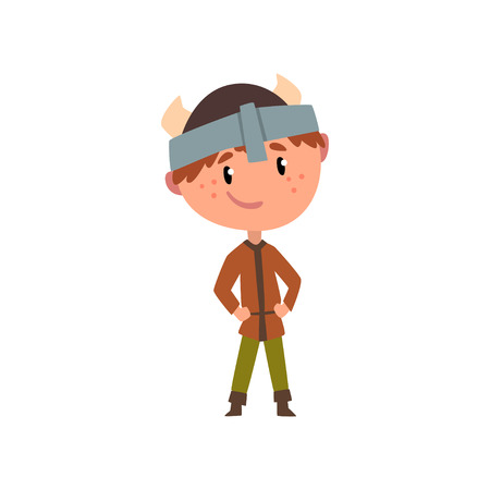 Northern European boy in national clothes, kid cartoon character in traditional costume of Sweden, Norway or Scandinavia vector Illustration on a white background  イラスト・ベクター素材