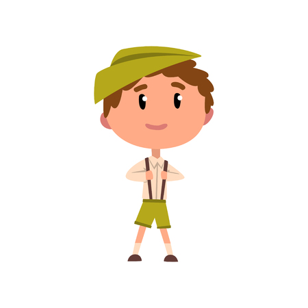 German boy in national clothes, kid cartoon character in traditional costume vector Illustration on a white background