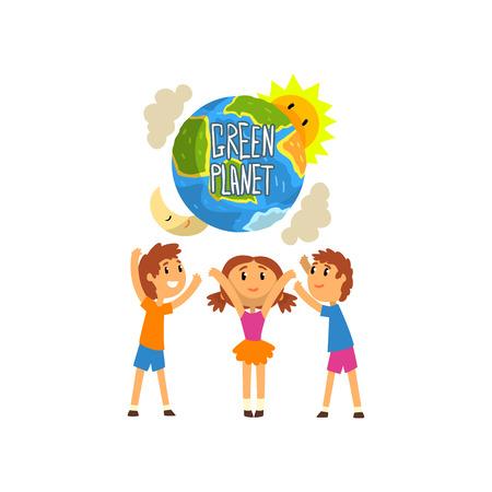绿色星球和可爱快乐的孩子,拯救地球,生态概念矢量插图在白色的背景