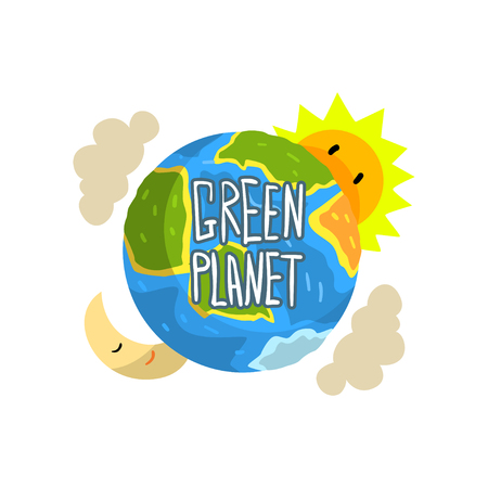 Green Planet, save the planet, ecology concept vector Illustration on a white background Illustration