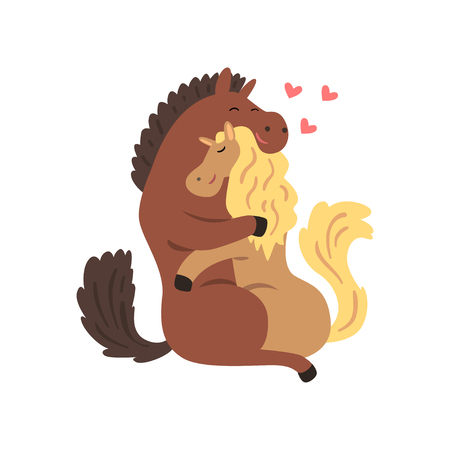 Couple of horses in love embracing each other, two happy  aniimals hugging with hearts over their head vector Illustration on a white background